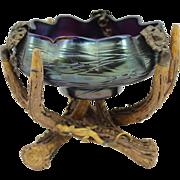 Rare Austrian Loetz Art Nouveau Bowl with Antler Base circa 1900