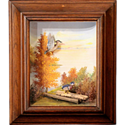 Framed Sporting Diorama of Wood Ducks by Runar G. Rodell circa 1965