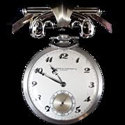 Vacheron & Constantin Platinum & Diamond Open Faced Watch with Custom Pin