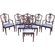Set of 8 Mahogany Hepplewhite Style Shield Back Upholstered Dining Chairs