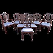 Set of 8 Mahogany Hepplewhite Style Shield Back Upholstered Dining Chairs