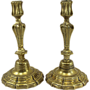 Pair of 18th c French Brass Candlesticks