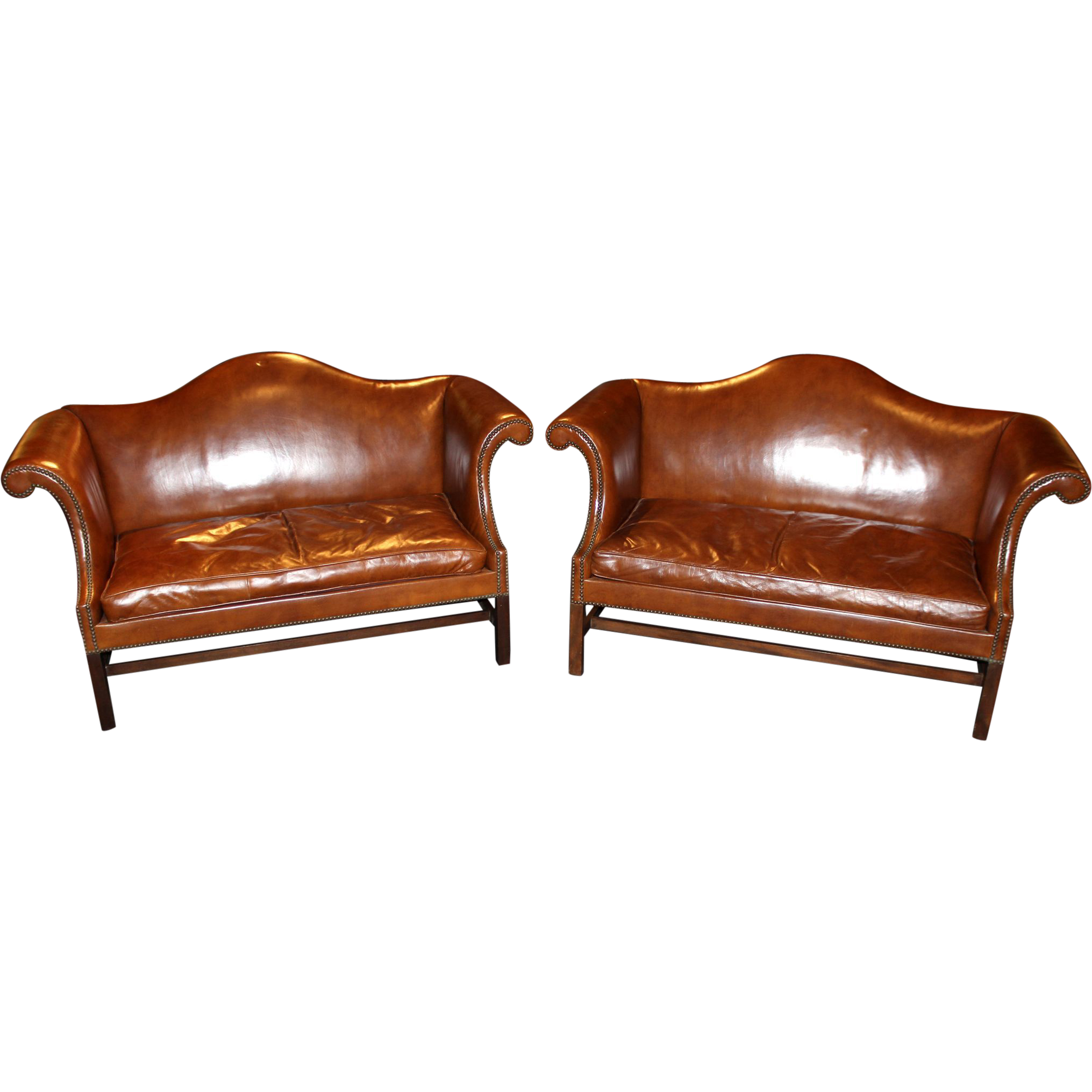 Pair Of Kittinger Leather Camel Back Sofas Williamsburg Adaptation From Nhantiquecoop On Ruby Lane