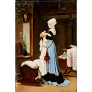 Edouard (Eduard) Niczky Framed Porcelain Plaque Oil Painting of Mother & Child