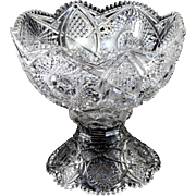 American Brilliant Period Cut Glass Punch Bowl on Pedestal
