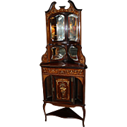 19th c English Inlaid Rosewood Corner Etagere with Marquetry