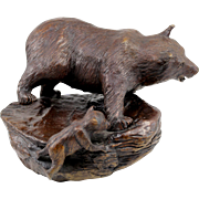 Barbara Faucher Signed Bronze of a Bear and Cub