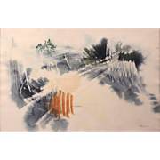 Thomas P. Blagden Watercolor Mod Painting - Pines and Mist