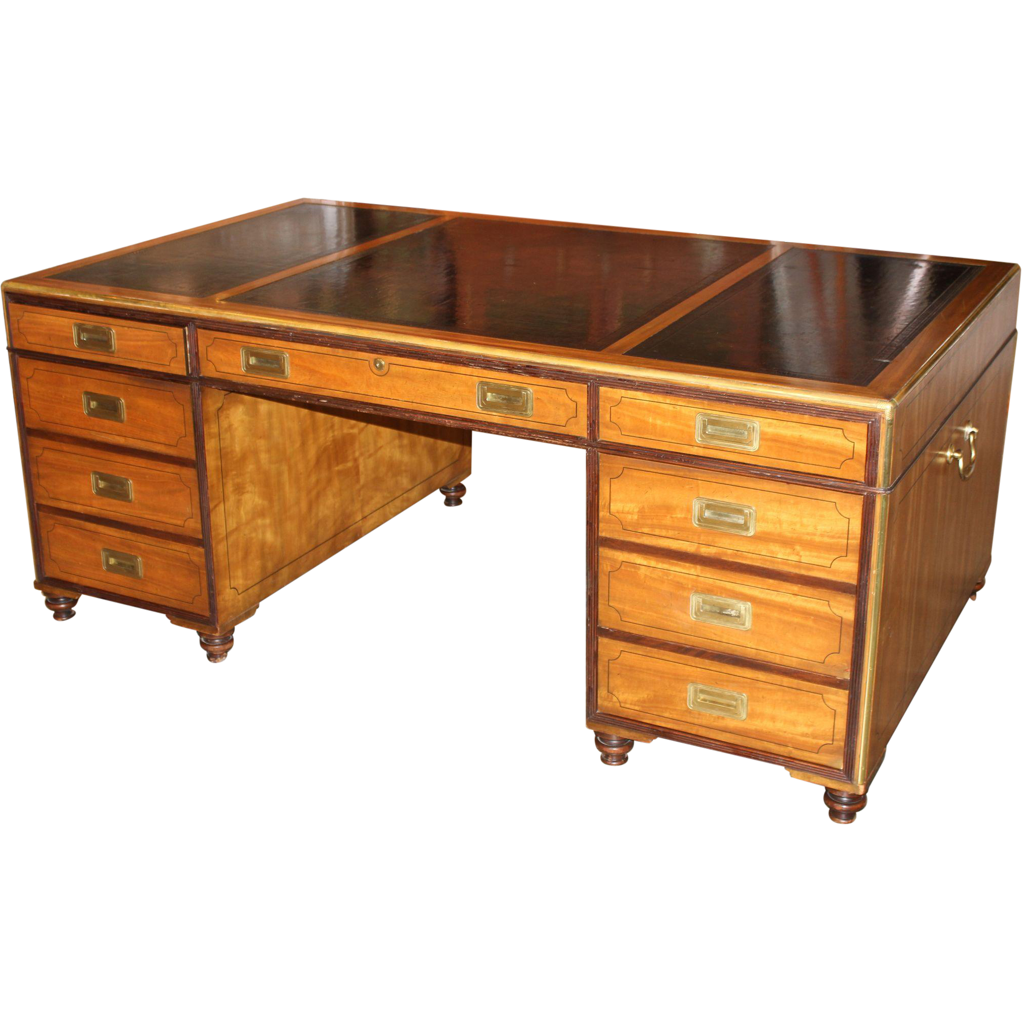 baker furniture campaign style leather top partners desk from