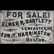 Early 20th c Hand Painted Advertising Sign Bartlett Lancaster & Harrington Boston MA