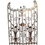 Pair of Iron Garden Gates with Flower and Urn Motif