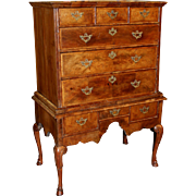 18th Century English High Chest in Burled and Banded Walnut Veneer