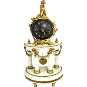 19th Century French Bronze Ormolu and Marble Figural Globe Mantel or Shelf Clock