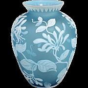 19th c Thomas Webb & Sons English Turquoise Gem Cameo Vase