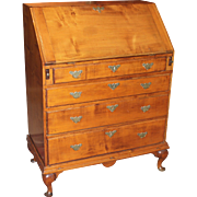 18th c New England Maple Queen Anne Slant Front Desk on Frame