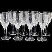 Set of 8 Lalique Crystal Angel Champagne Flutes or Glasses