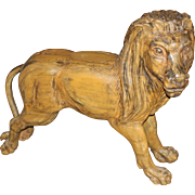 SOLD Carved Wooden Polychrome Carousel Standing Lion Figure