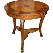 Baker Furniture Fruitwood and Mahogany Center Table with Pinwheel Inlay