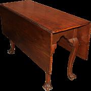 Queen Anne Walnut Drop Leaf Dining Table with Rare Trifid Feet