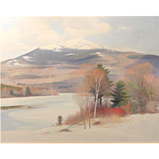 Sid (Sidney) Willis Large Oil Painting Winter Landscape of Mount Monadnock NH
