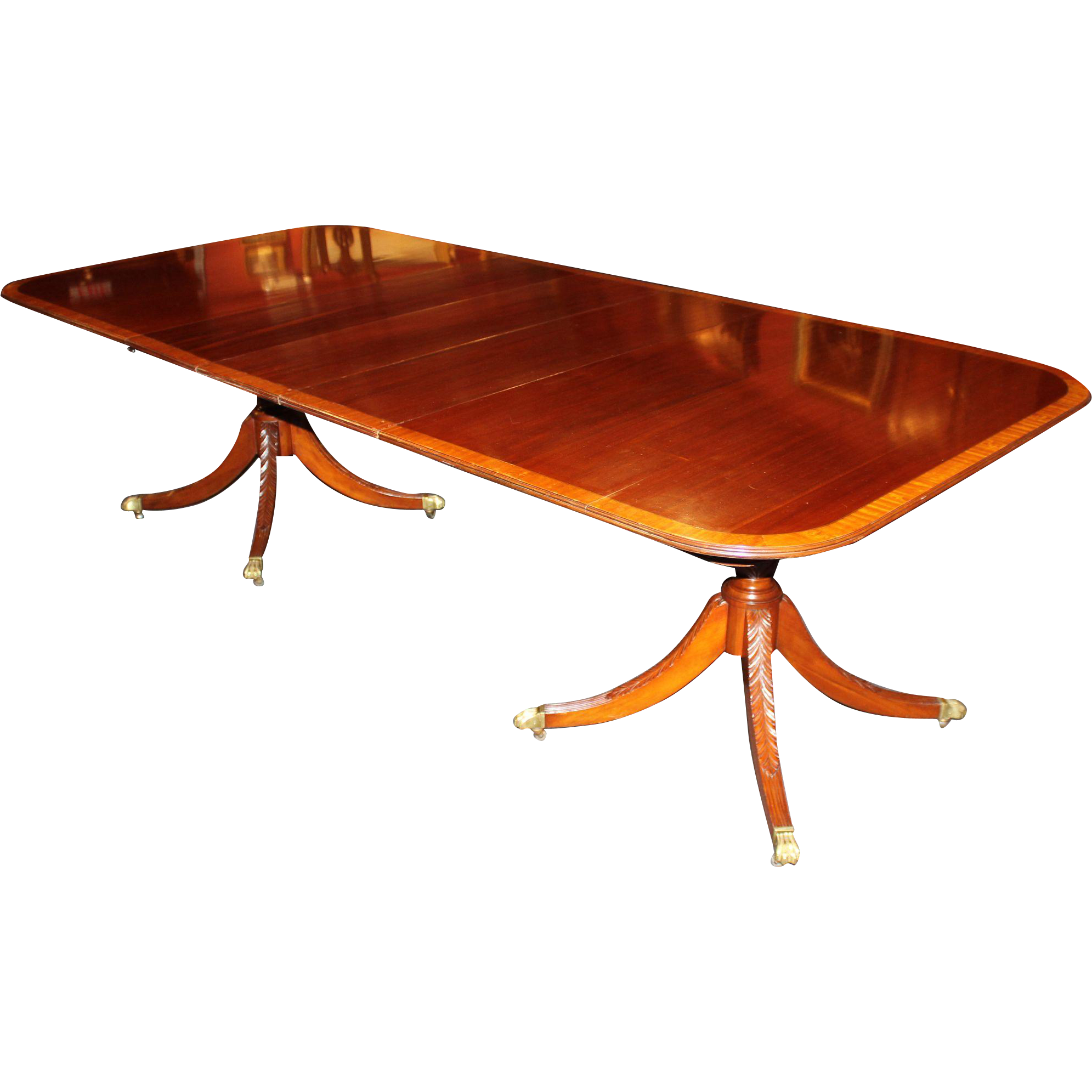 Satinwood Banded Mahogany Double Pedestal Dining Table : 45221L from www.rubylane.com size 1991 x 1991 png 1245kB