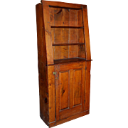 19th Century Pine Canted Cupboard with Paneled Door
