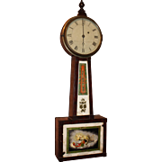 19th c Vermont Curtis & Dunning Banjo Clock with Aurora Painted Figure
