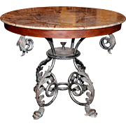 Round Stone Top Scroll & Leaf Brass & Iron Center Table with Dolphin Feet