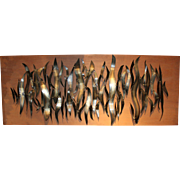 Homer Gunn Mid Century Modern Abstract Mounted Metal Wall Sculpture