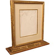 William McGregor Paxton Double Sided Silver Point Drawing in W.F. Scott Gilt Carved Frame