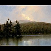 William R. Davis Landscape Oil Painting - Break of Light, Mt. Monadnock, NH