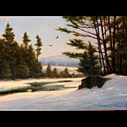 William R. Davis Landscape Oil Painting - Winter at Jackson Falls, NH