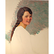 Lilla Cabot Perry Unfinished Oil Painting Portrait of a Young Woman