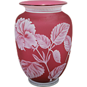 19th c Thomas Webb & Sons Red Gem Cameo Vase