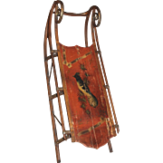 19th / 20th c  Hand Painted Bentwood Child's Sled with Bird Decoration