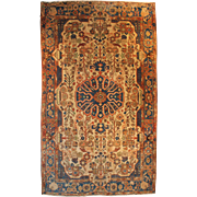 20th c Handmade Persian Oriental Rug with Ivory Field