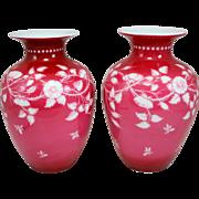 Unsigned Pair of 19th c Thomas Webb & Sons Intaglio Vases