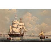 Salvatore Colacicco Marine Oil Painting - Shippin In a Calm In The Solent