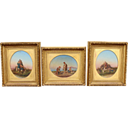 Set of 3 19th c Italian Classical Genre Oil Paintings by Salvatore Montullo