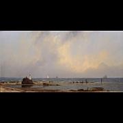 William R. Davis Marine Oil Painting - Distant Ships