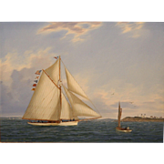 William R. Davis Marine Oil Painting - Summer Sail off the Gurnetts