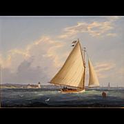 William R. Davis Marine Oil Painting - Catboat Off Wood End Light, Provincetown MA