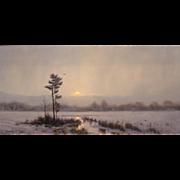 William R. Davis Landscape Oil Painting - Light Snow Over The Marsh