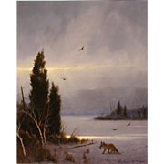 William R. Davis Landscape Oil Painting - Winter Storm Break