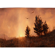 William R. Davis Landscape Oil Painting - Sunset & Cedars