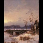 William R. Davis Winter Landscape Oil Painting - Old Stone Bridge