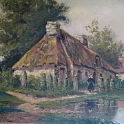 Antique Late 19th C Century LARGE French Oil Painting Brittany FARM SCENE Celtic Alignment Sig