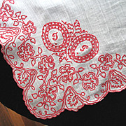 REDUCED VALENTINE! Antique French VICTORIAN Hankie Handkerchief Embroidered Redwork EMBROIDERY