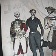Antique 19th C Century French GEORGIAN Print Engraving w Watercolor 3 MEN in Fashion Contest H