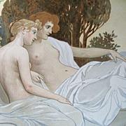 Antique 19th Century ROSSLER Austrian Art NOUVEAU Original Litho Print Semi NUDE Ladies in Lan